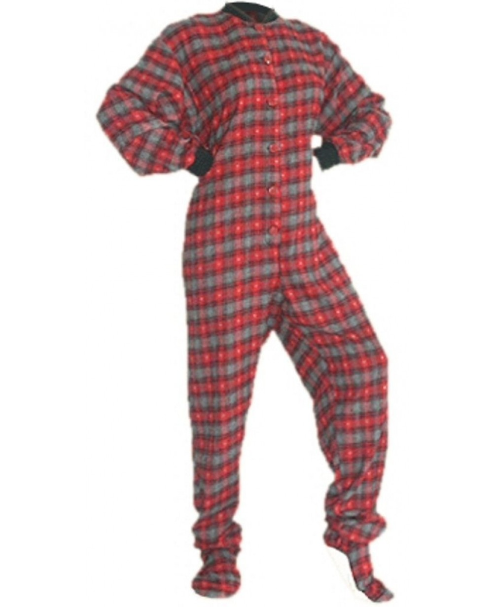66e221924 Red and Black With Grey Hearts Flannel Adult Footed Pajamas