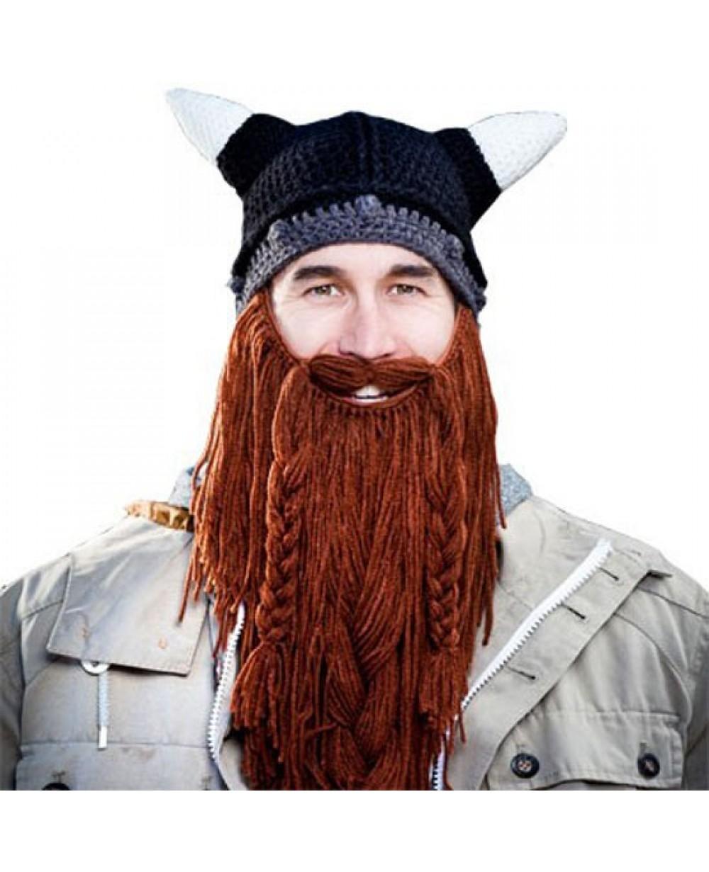 9f6958a1e Barbarian Pillager Beard Head Knit Hat
