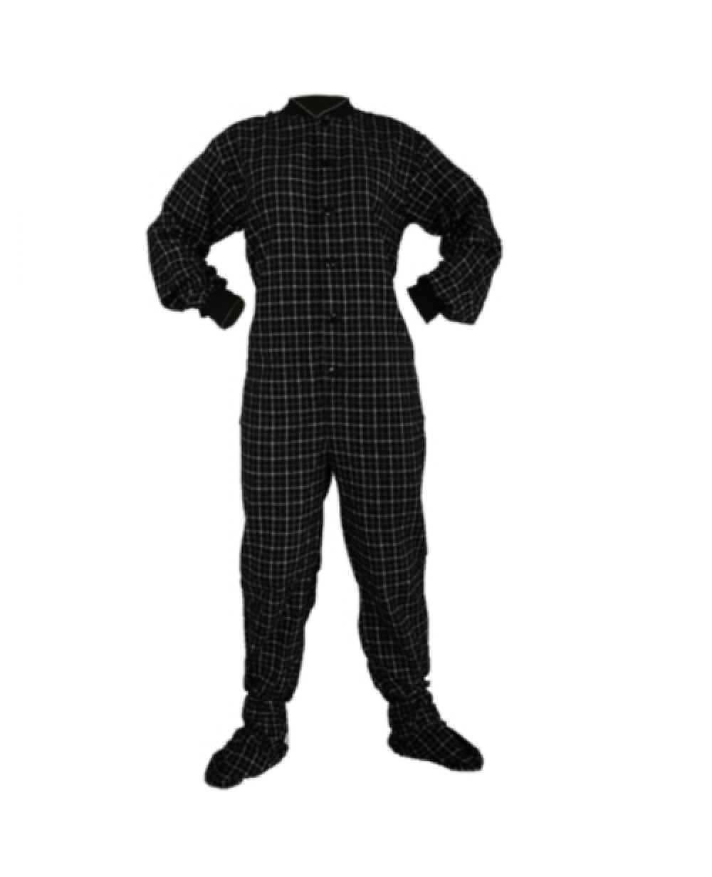 1e02177c5e9a More Views. Black and White Flannel Adult Footed Pajamas