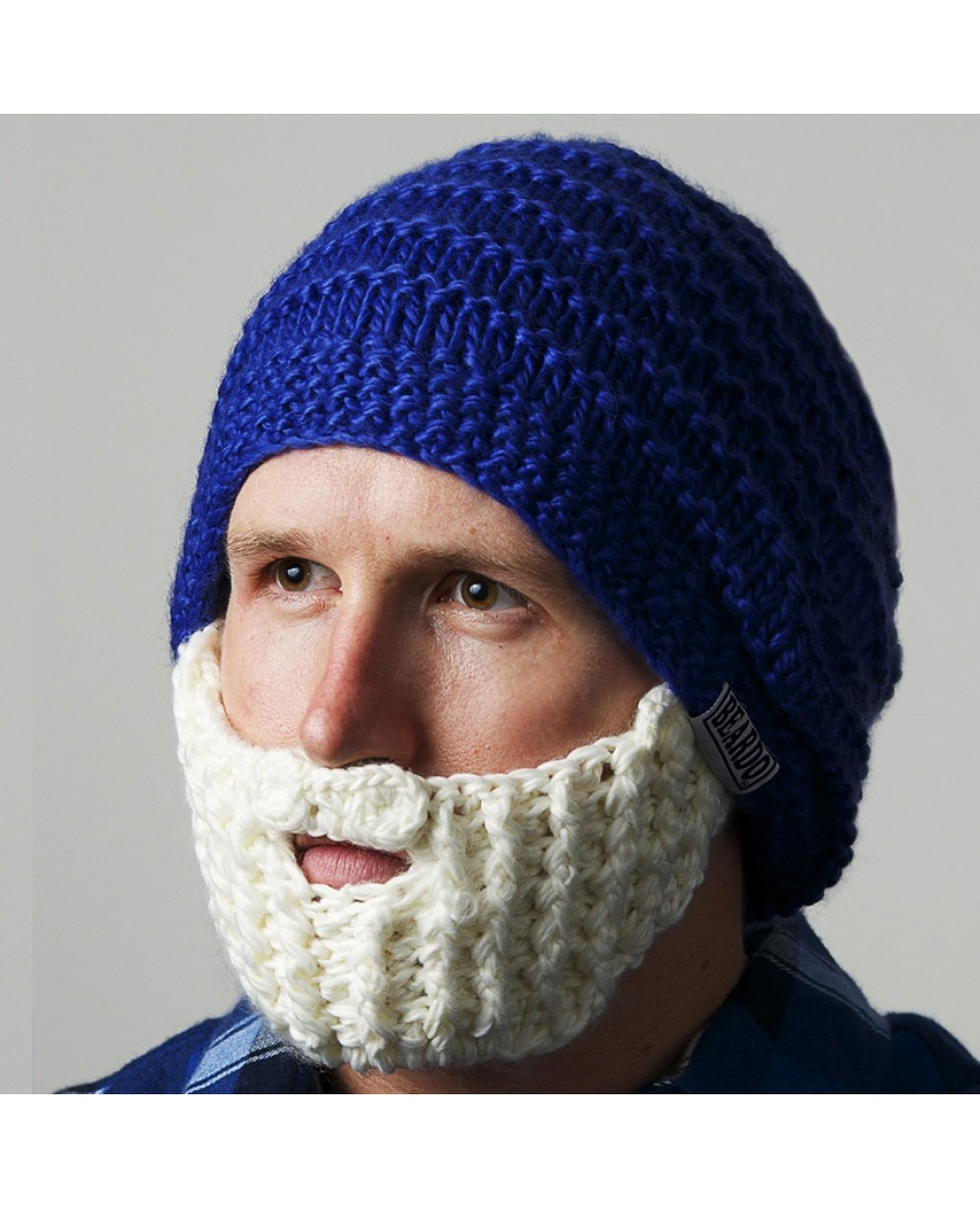 672a9d42aee More Views. Blue and White Beardo Knit Hat