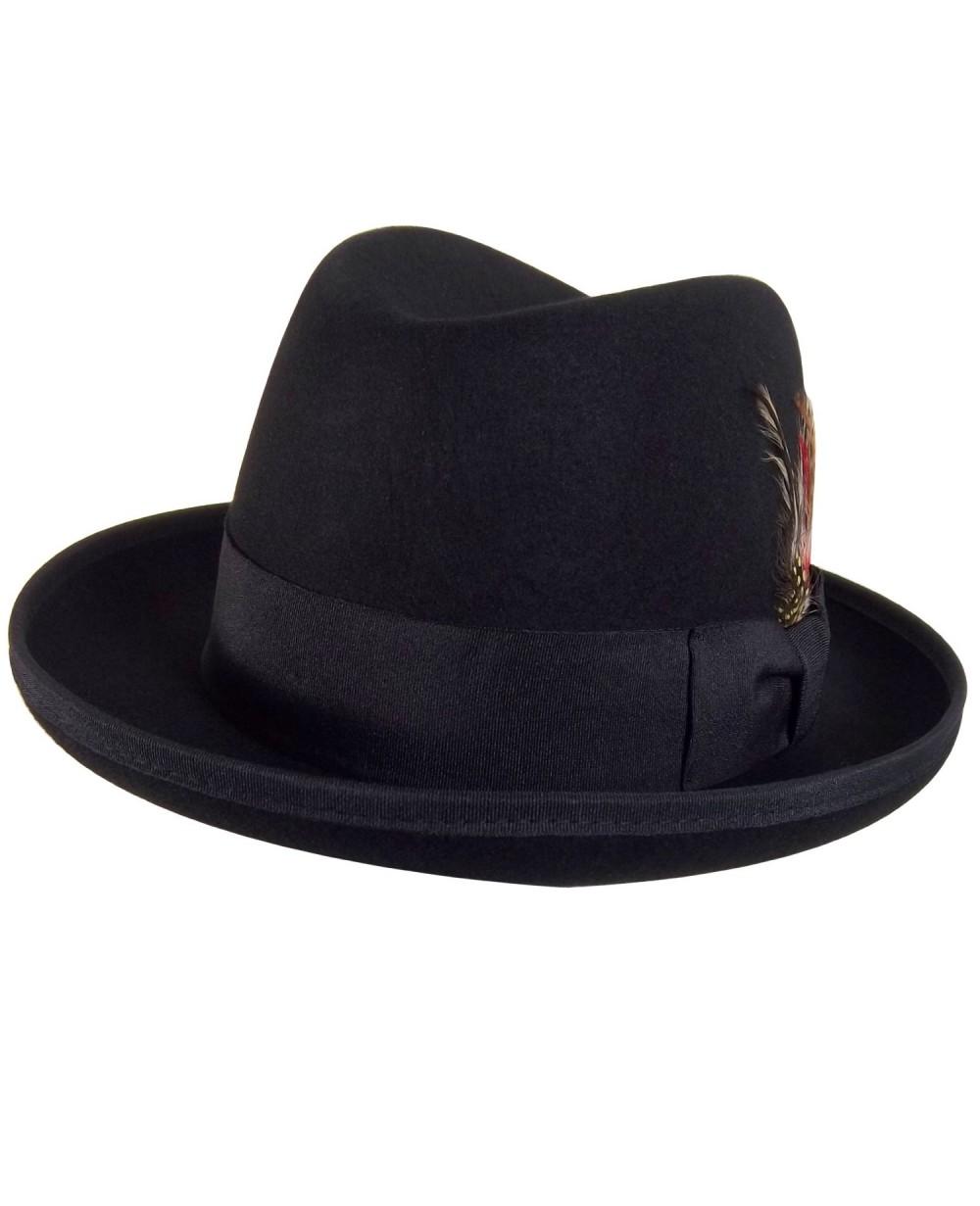 2501bbac958 Godfather Style Black Fedora Hat With Feathers