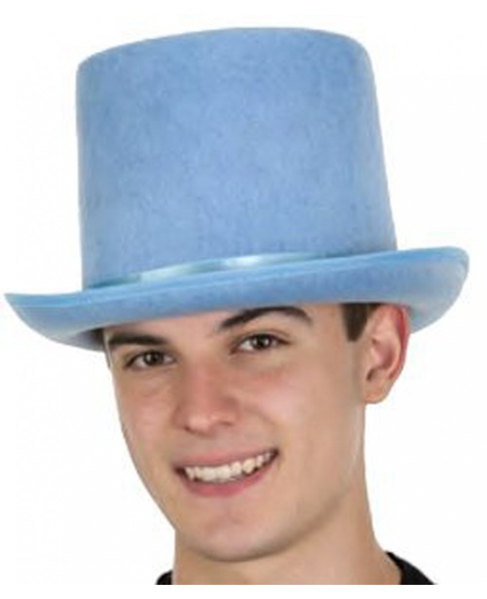 Light Blue Felt Top Hat With Satin Band 56c0df79062