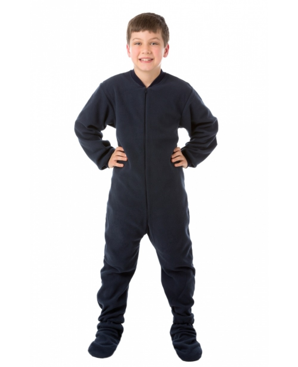 Navy Blue Fleece Youth Footed Pajamas