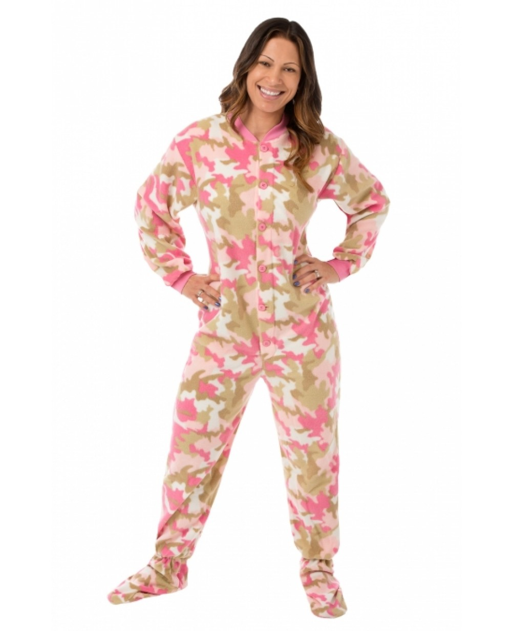 8950cf7bac7c More Views. Pink Camouflage Fleece Adult Footed Pajamas