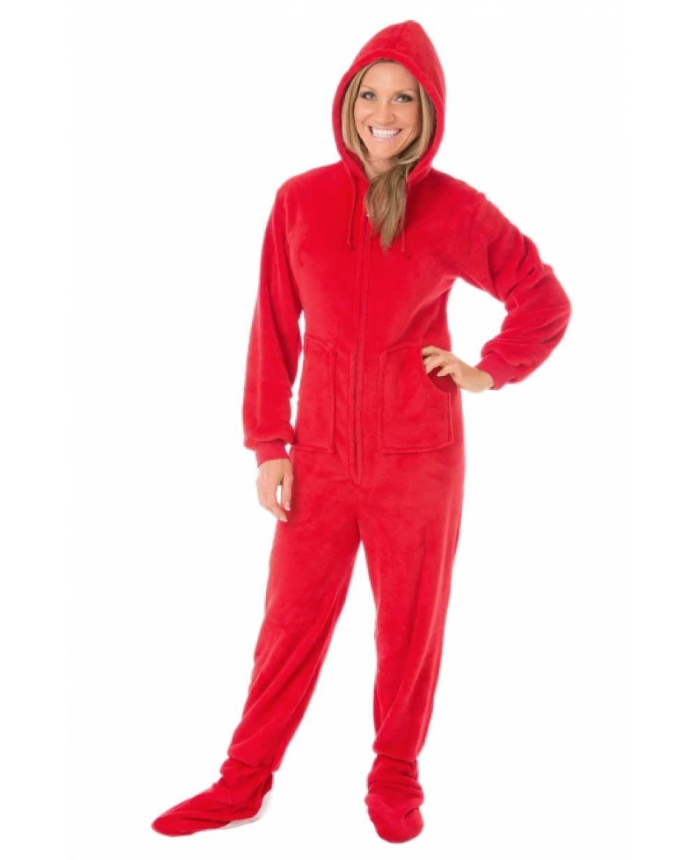 dd2fee778 Red Plush Hooded Adult Footed Pajamas