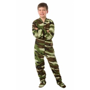 Camouflage Fleece Youth Footed Pajamas