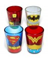 DC Comics Superheroes Uniform 4-Pack Shot Glasses