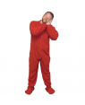 Red Fleece Adult Footed Pajamas