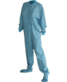 Turquoise and Yellow Flannel Adult Footed Pajamas