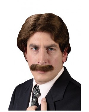 Ron Burgundy 70's Wig And Mustache