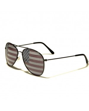 American Flag Aviator Sunglasses With Black Frames