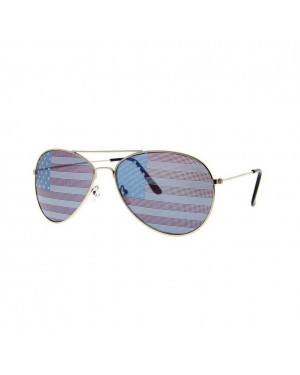 American Flag Aviator Sunglasses With Gold Frames