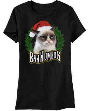Bah Humbug Christmas Grumpy Cat Womens T-Shirt