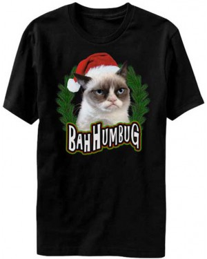 Bah Humbug Christmas Grumpy Cat T-Shirt