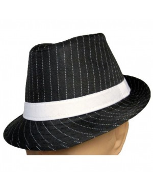 Black Fedora White Pinstripe Hat
