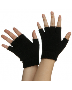 Black Fingerless Gloves (Pair)