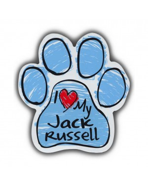 Blue I Love My Jack Russel Scribble Paw Magnet