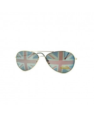 British Flag Aviator Sunglasses With Black Frames