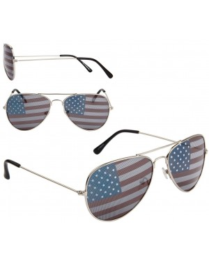 American Flag Aviator Sunglasses with Silver Frames