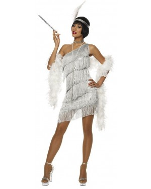 Silver Dazzling Flapper Womens Costume