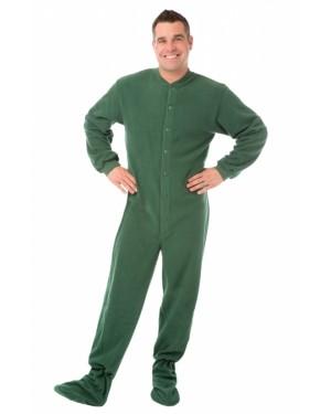Hunter Green Fleece Adult Footed Pajamas