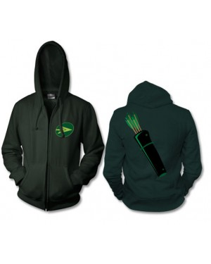 Green Arrow Zip Up Hoodie Costume