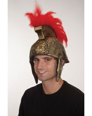 Plastic Gladiator Helmet With Feathers (2 Parts)