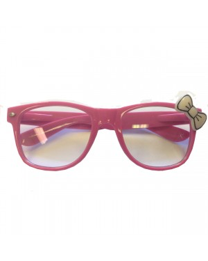 Pink Wayfarer Glasses With White Bow