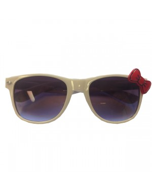White Wayfarer Sunglasses With Red Bow
