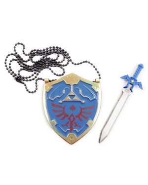 Hylian Shield Stainless Steel Necklace Blue
