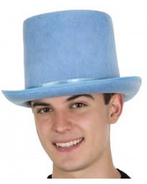 Light Blue Felt Top Hat With Satin Band