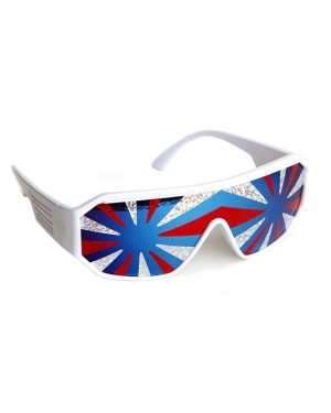 Macho Wrestler Style America 3 Star Burst Shield Sunglasses