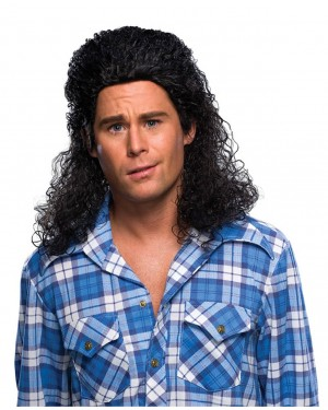 Curly Black Mens Mullet Wig
