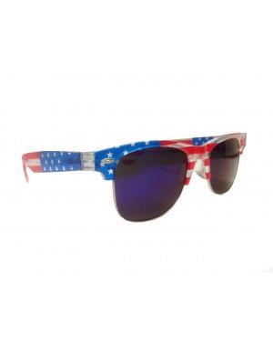 American Flag Soho Clear Frame Sunglasses With Dark Blue Lenses