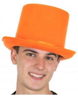 Orange Felt Top Hat With Satin Band