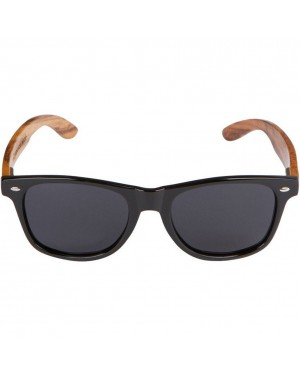 Black Wayfarer Sunglasses With Faux Wood Grain Arms