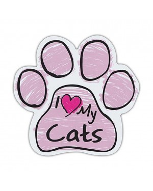 Pink I Love My Cats Scribble Paw Magnet