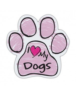 Pink I Love My Dogs Scribble Paw Magnet