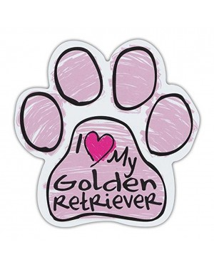 Pink I Love My Golden Retriever Scribble Paw Magnet
