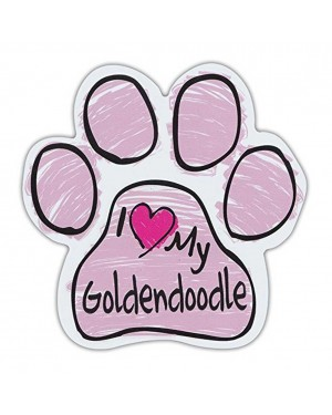 Pink I Love My Goldendoodle Scribble Paw Magnet
