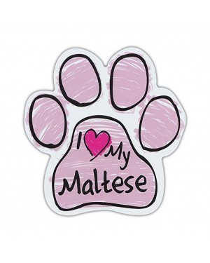 Pink I Love My Maltese Scribble Paw Magnet