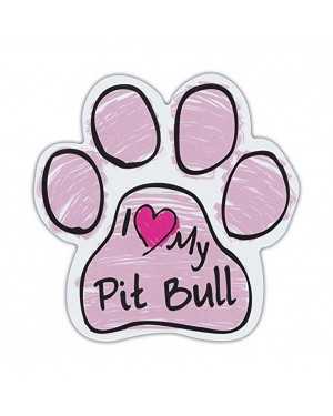 Pink I Love My Pit Bull Scribble Paw Magnet