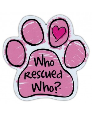 Pink Who Rescued Who Paw Magnet