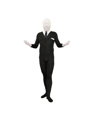 Slenderman Black Suit Youth Spandex Costume