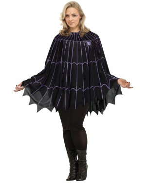 Spider Web Poncho Black/Purple - Solid Pack - Plus Size