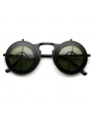 Flip Up Bullseye Black Sunglasses