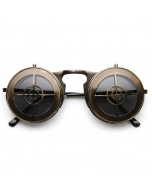 Flip Up Bullseye Bronze Sunglasses