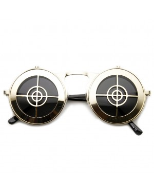 Flip Up Bullseye Gold Sunglasses