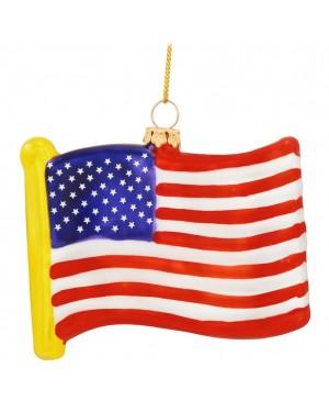 USA Flag Glass Ornament