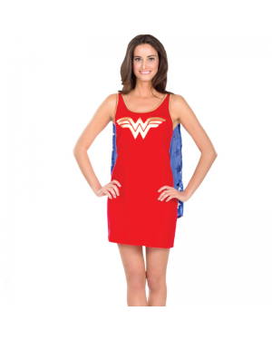 Wonder Woman Tank Dress With Cape Womens Costume